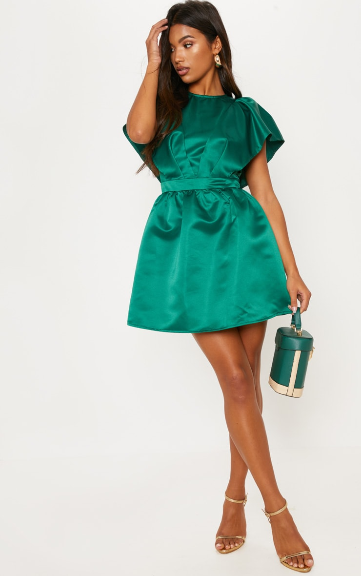 ed23decf67 Emerald Green Satin Ruffle Sleeve Skater Dress image 1