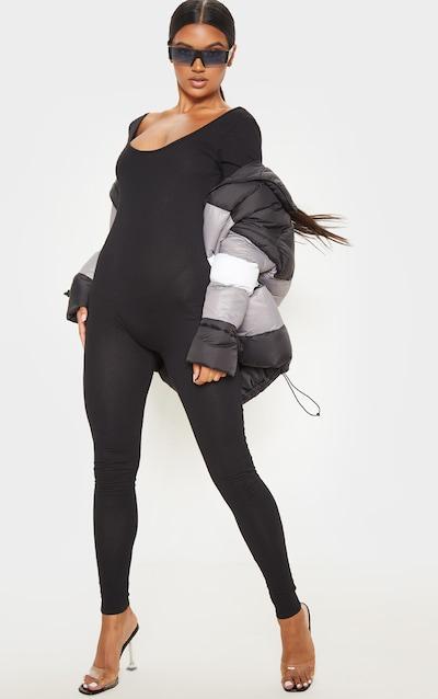 Black Cotton Elastane Scoop Neck Jumpsuit