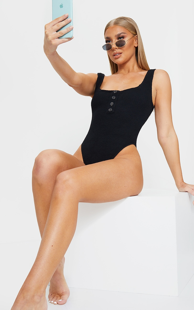 Black Button Down Crinkle Swimsuit 3