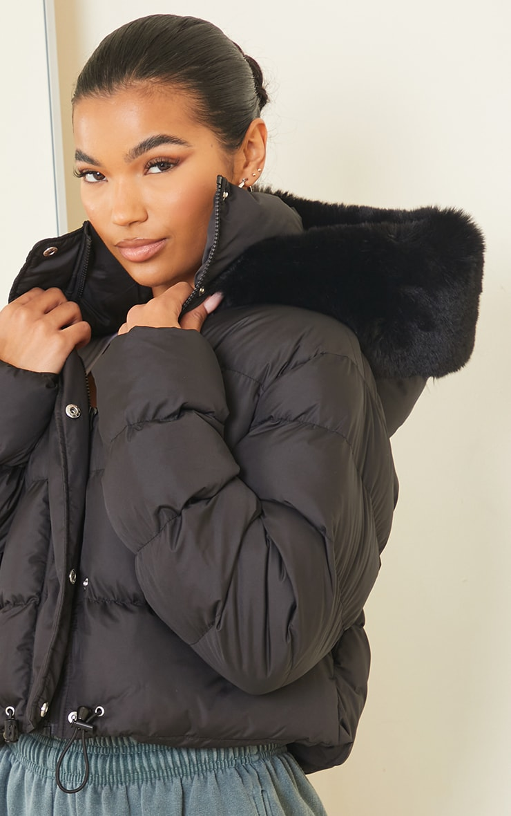 Black Faux Fur Hooded Puffer Coat 4