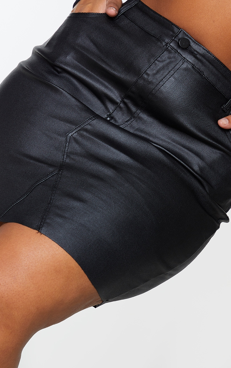 Plus Black Coated Denim Extreme Mini Skirt 5