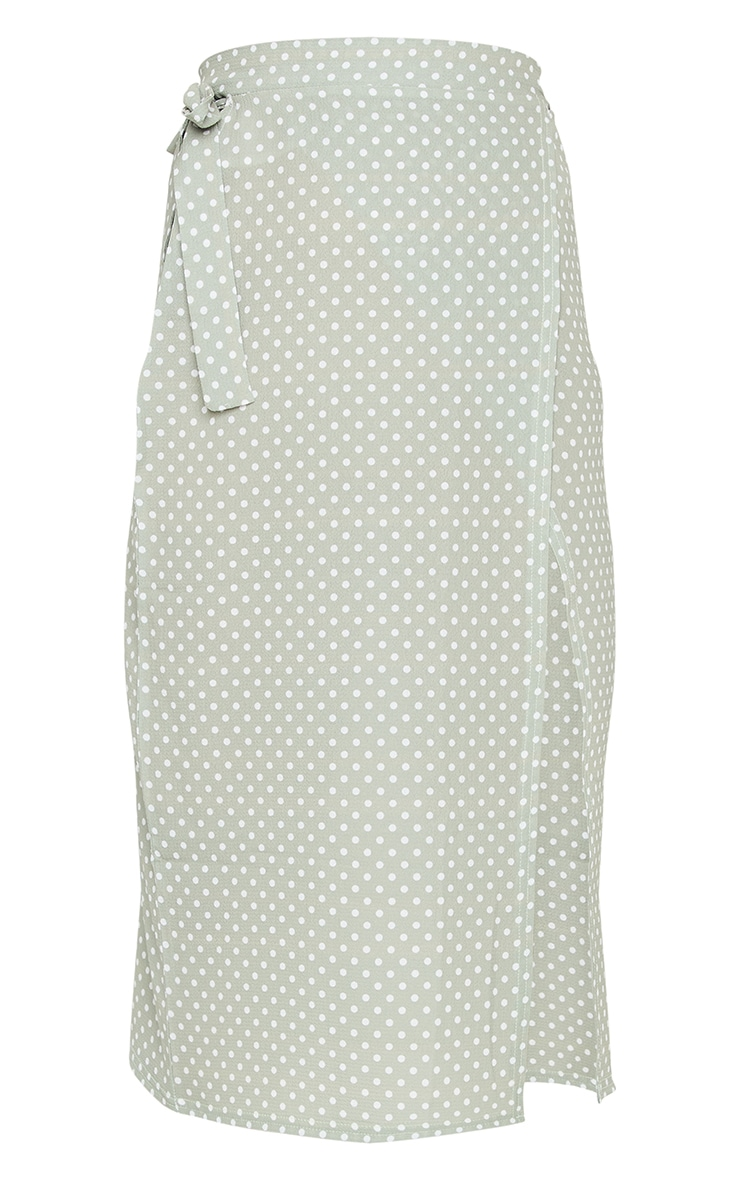 Sage Polka Dot Wrap Around Midi Skirt 5