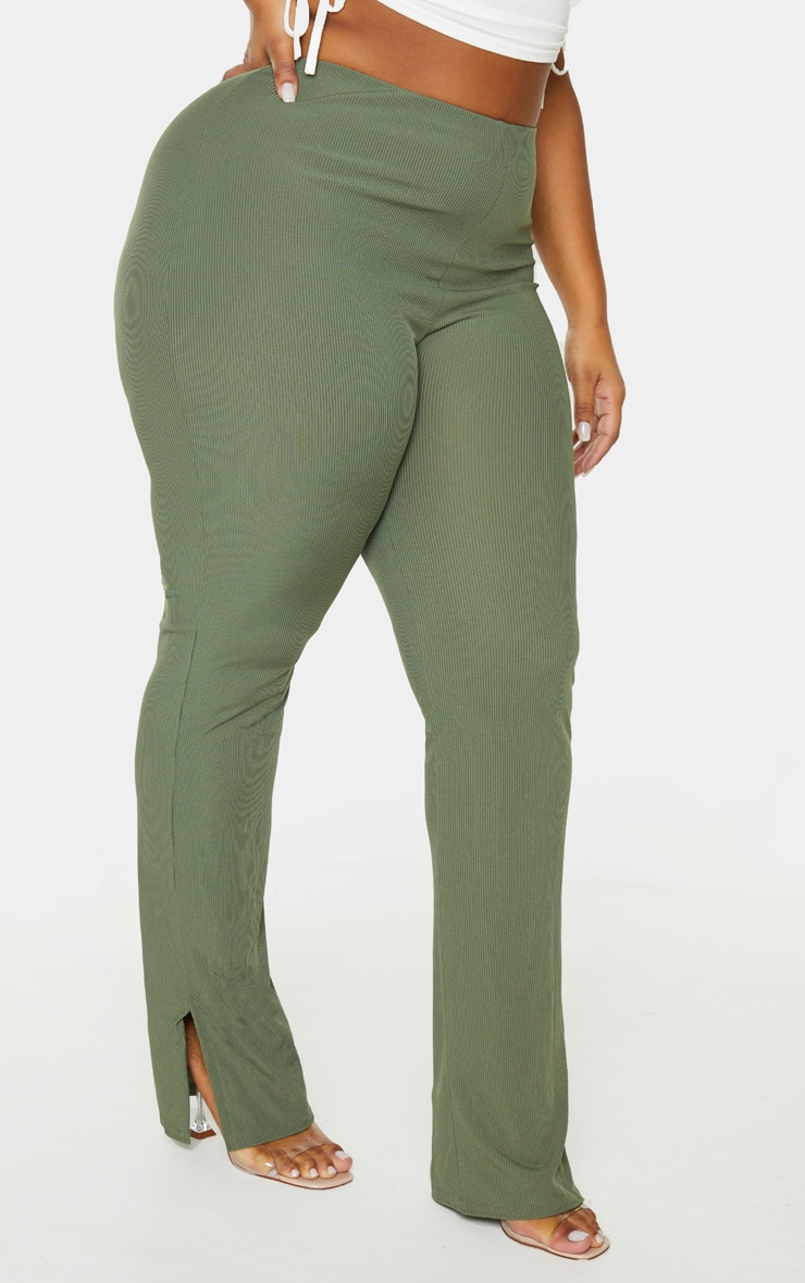 Plus Khaki Ribbed Skinny Split Hem Trouser 2