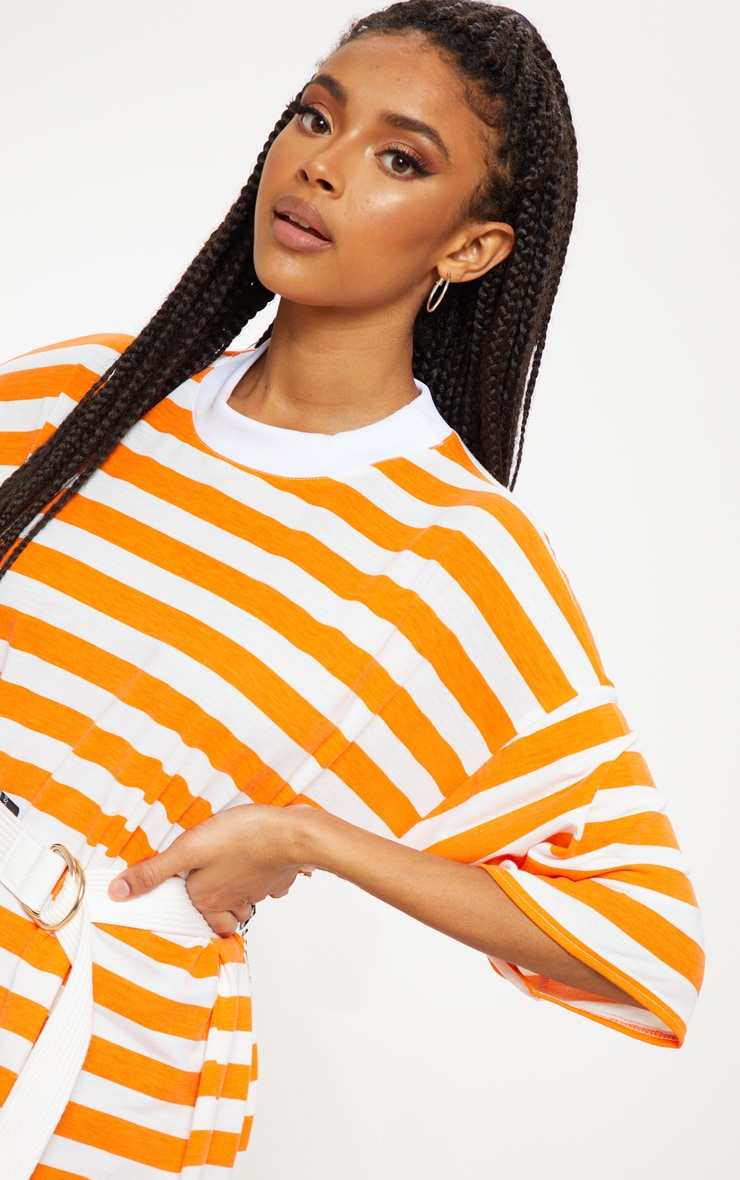 Orange Stripe Oversized Boyfriend T Shirt Dress 5