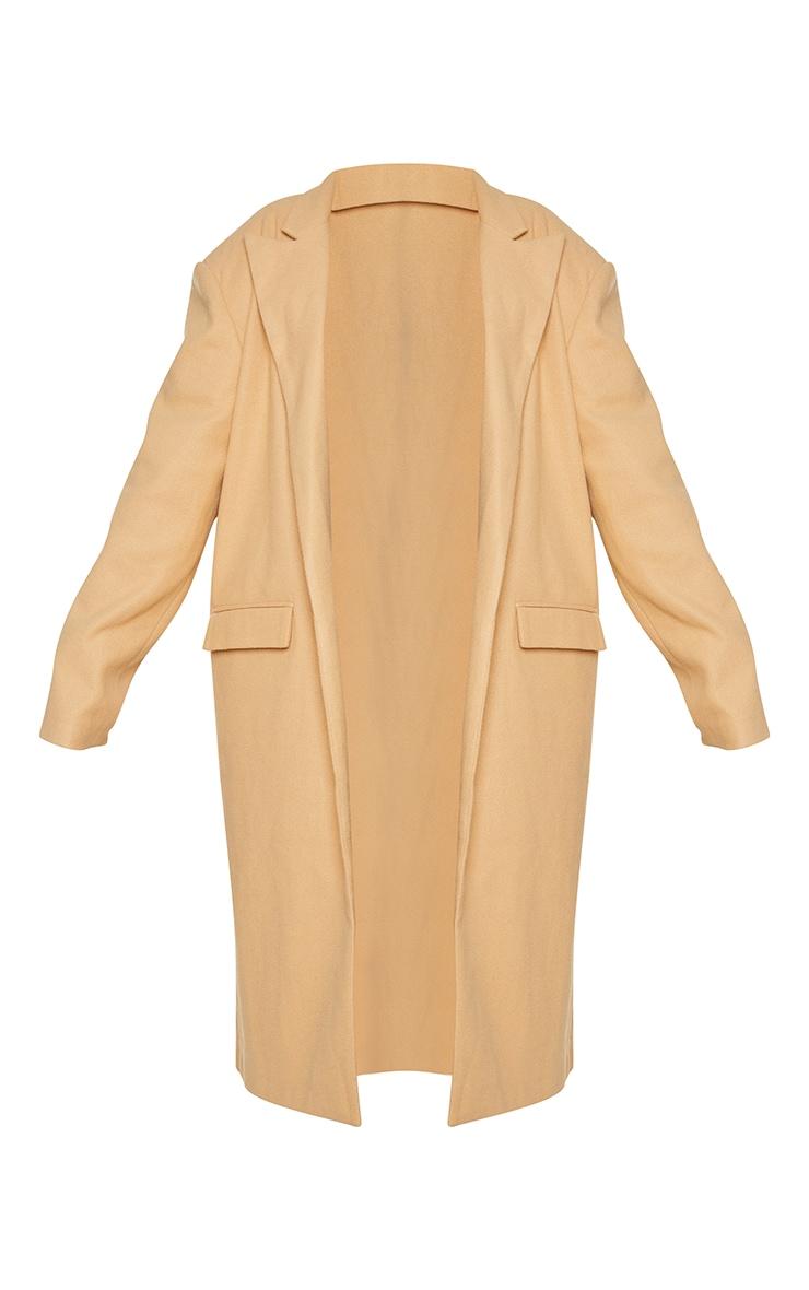 Plus Camel Oversized Shoulder Padded Coat 5