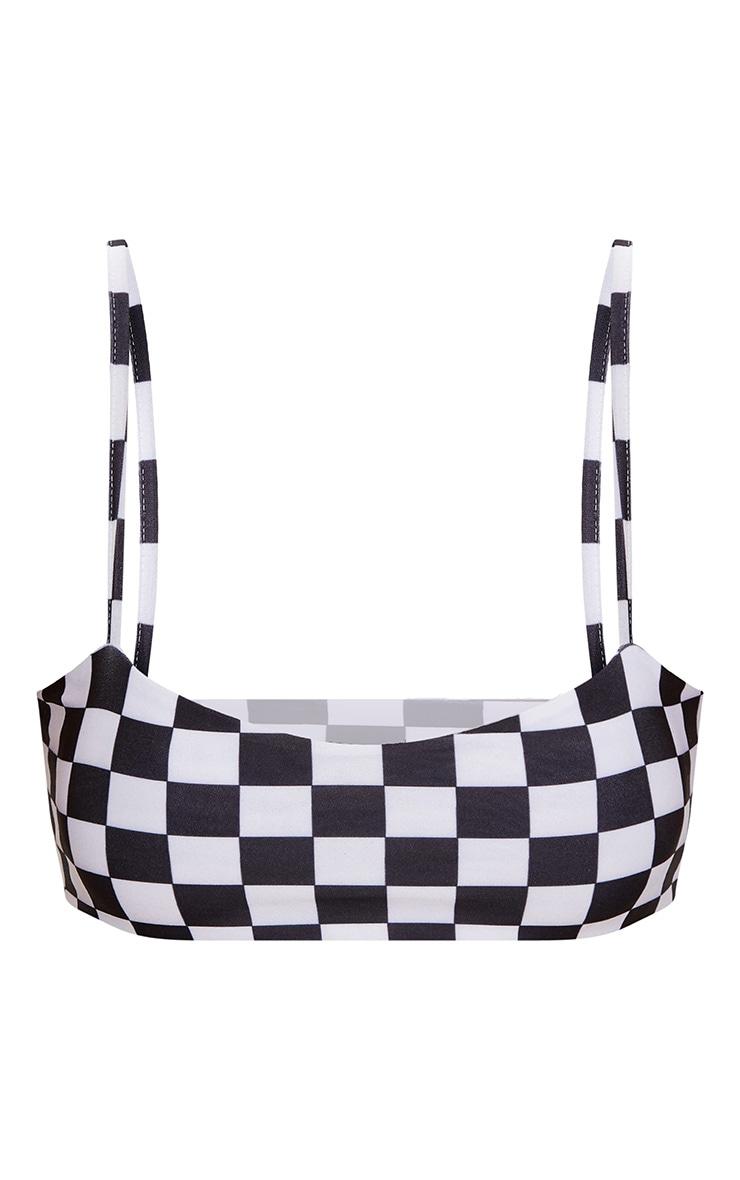 Black Checker Board Low Scoop Bikini Top 3