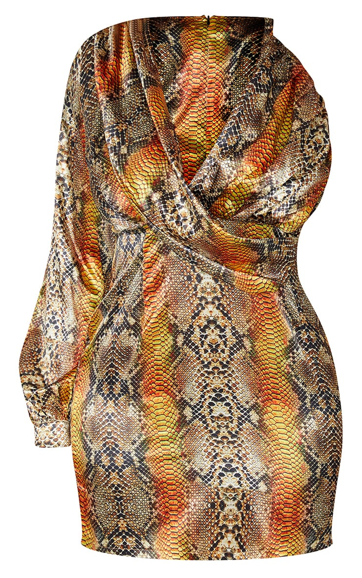 Plus Brown Satin Snake Print One Sleeve Twist Dress 5