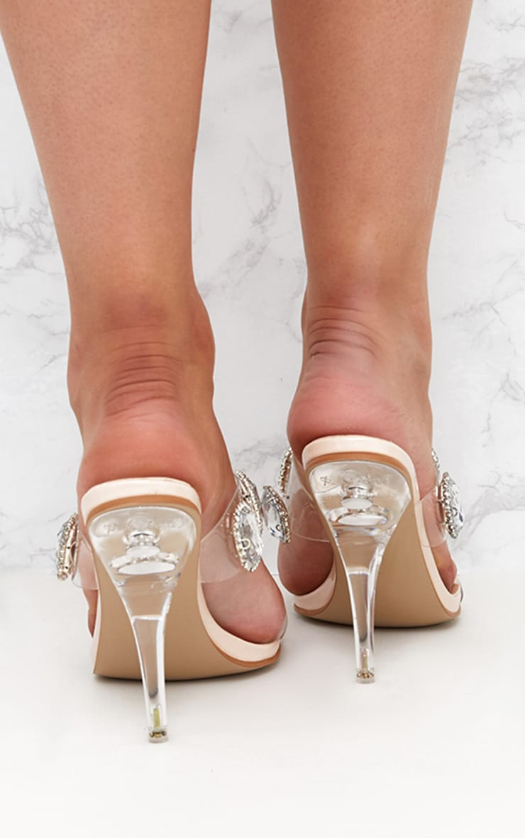Nude Jewelled Clear Heeled Mules 4