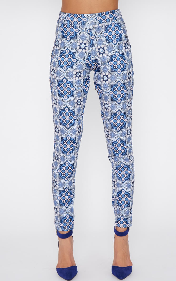Tora Blue Paisley Trouser  2