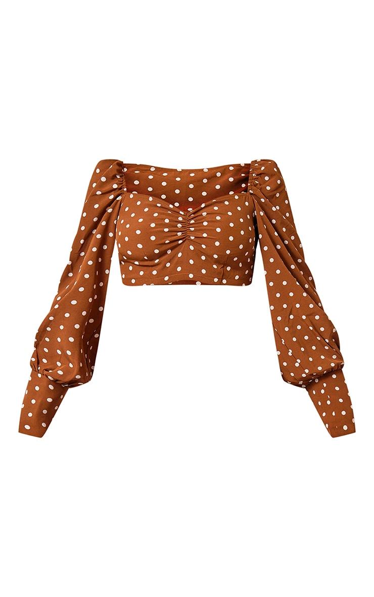 Brown Polka Dot Print Ruched Blouse 5