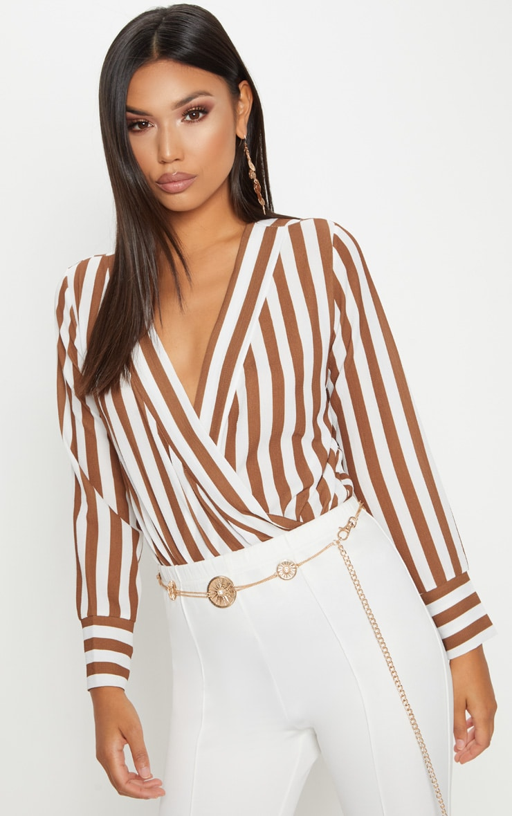Cream Stripe Plunge Bodysuit 1