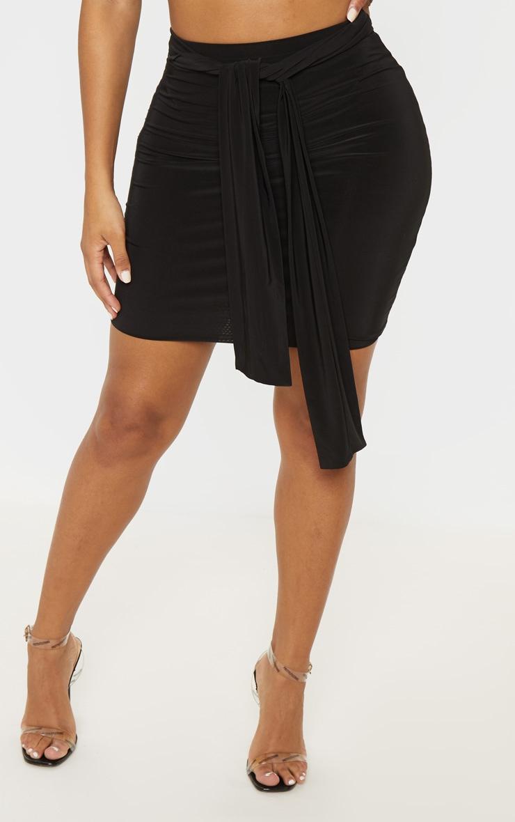Shape Black Slinky Tie Waist Bodycon Skirt  2