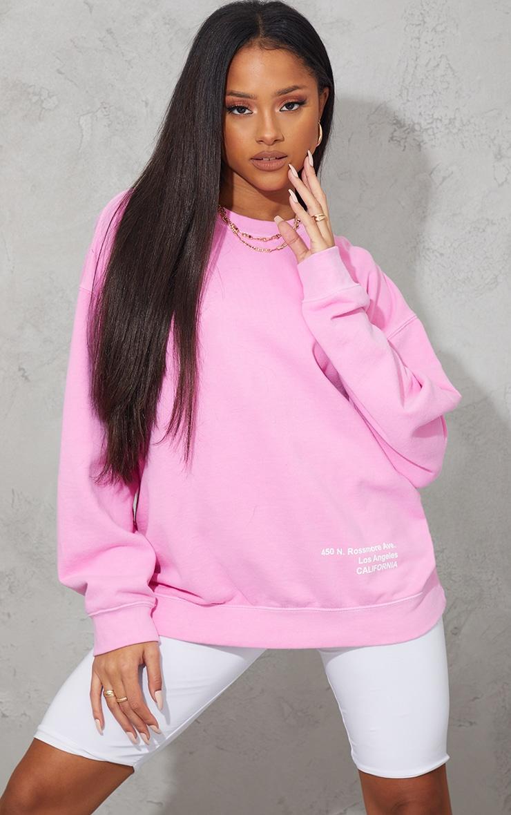 Pink Los Angeles Small Print Slogan Washed Sweatshirt 1