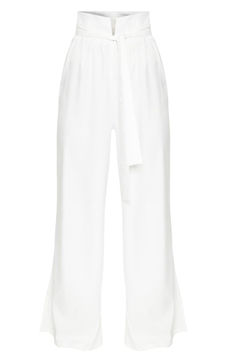 Cream Cotton High Waisted Belt Detail Pants 3