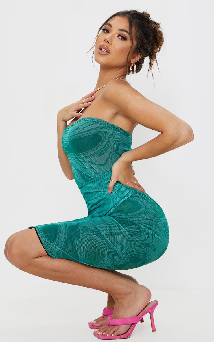 Green Marble Print Mesh Bandeau Drape Midi Dress 3