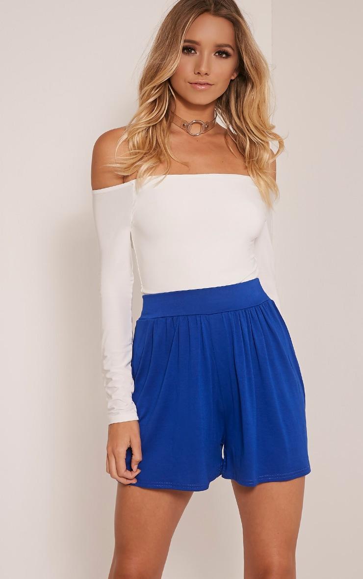 Lucilla Cobalt Jersey Floaty Shorts 1