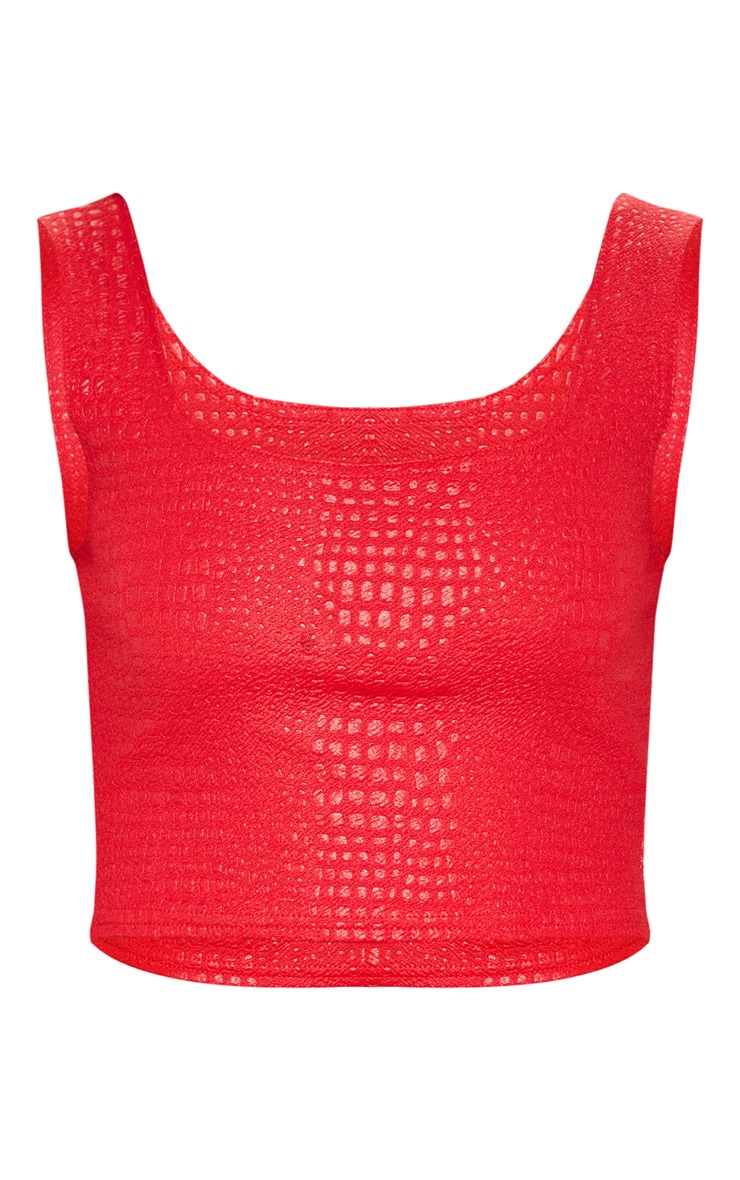 Red Crepe Textured Crop Top  3
