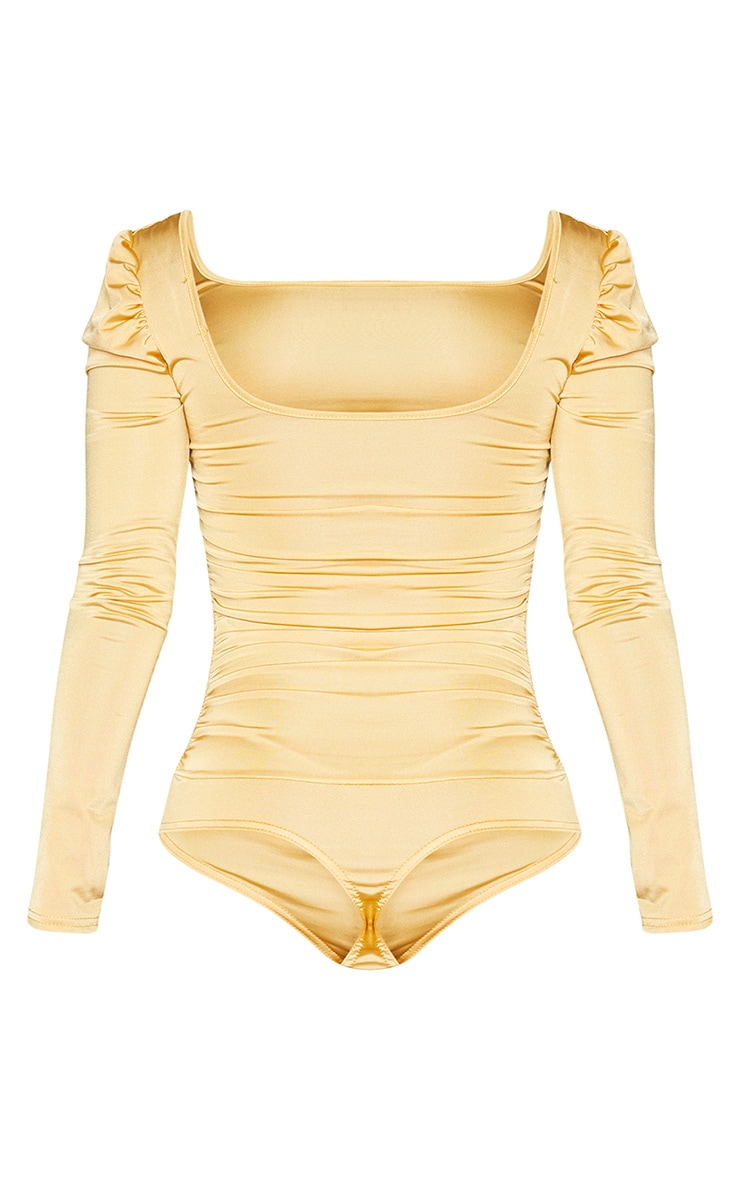 Gold Stretch Satin Ruched Detail Long Sleeve Bodysuit 6