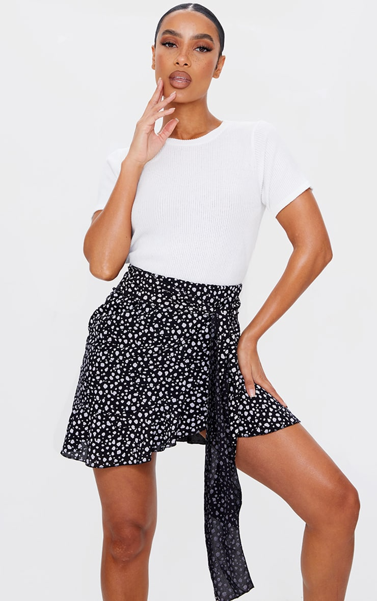 Black Dalmatian Print Tie Detail Frill Edge Wrap Mini Skirt 3