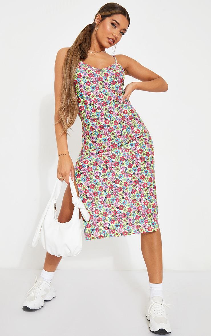 Multi Bright Floral Print Jersey Split Cami Midi Dress 3