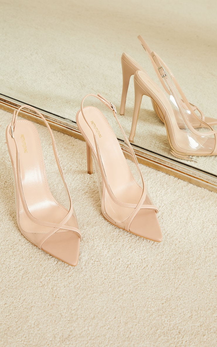 Nude PU Clear Sling Back High Heel Court Shoes 3
