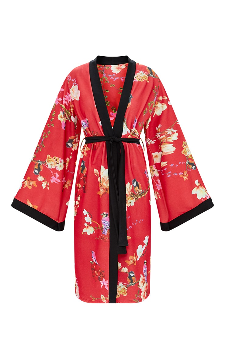 Red Oriental Belted Kimono Jacket 3