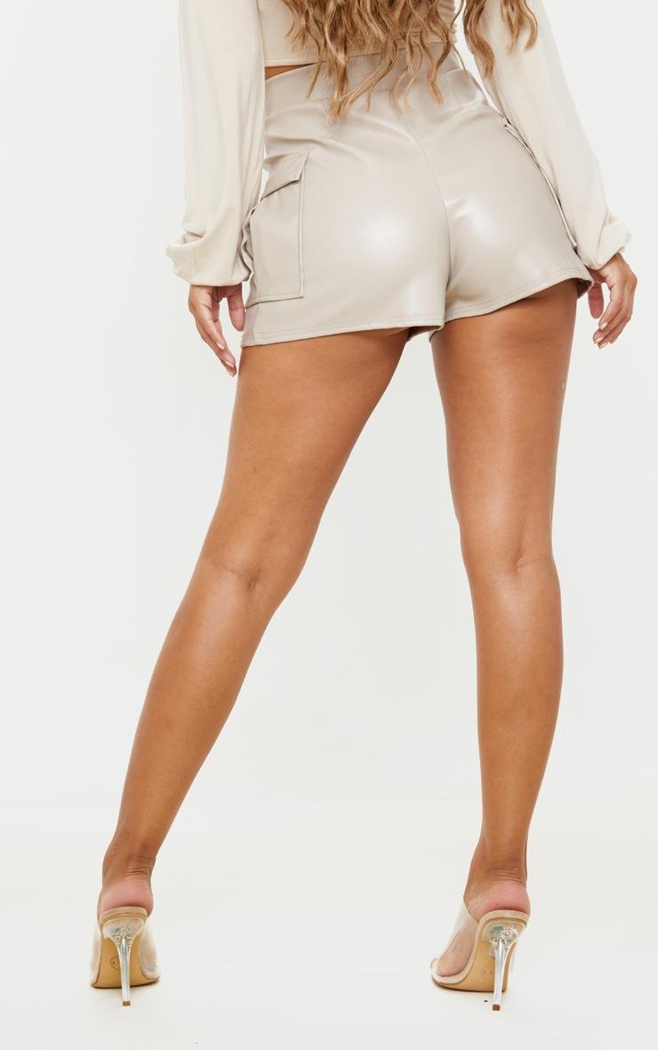 Petite Stone PU Pocket Shorts  4