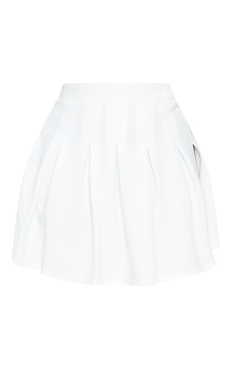 Plus White Pleated Side Split Tennis Skirt 6