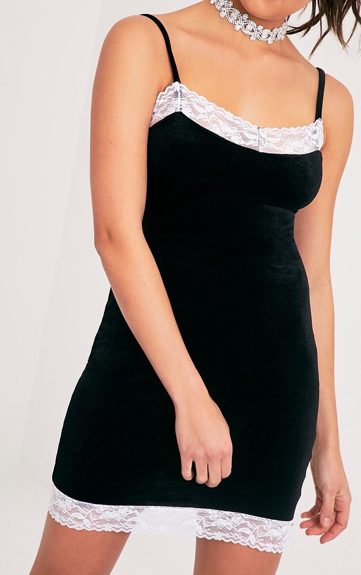 Kasshia Black Velvet Lace Trim Bodycon Dress 6