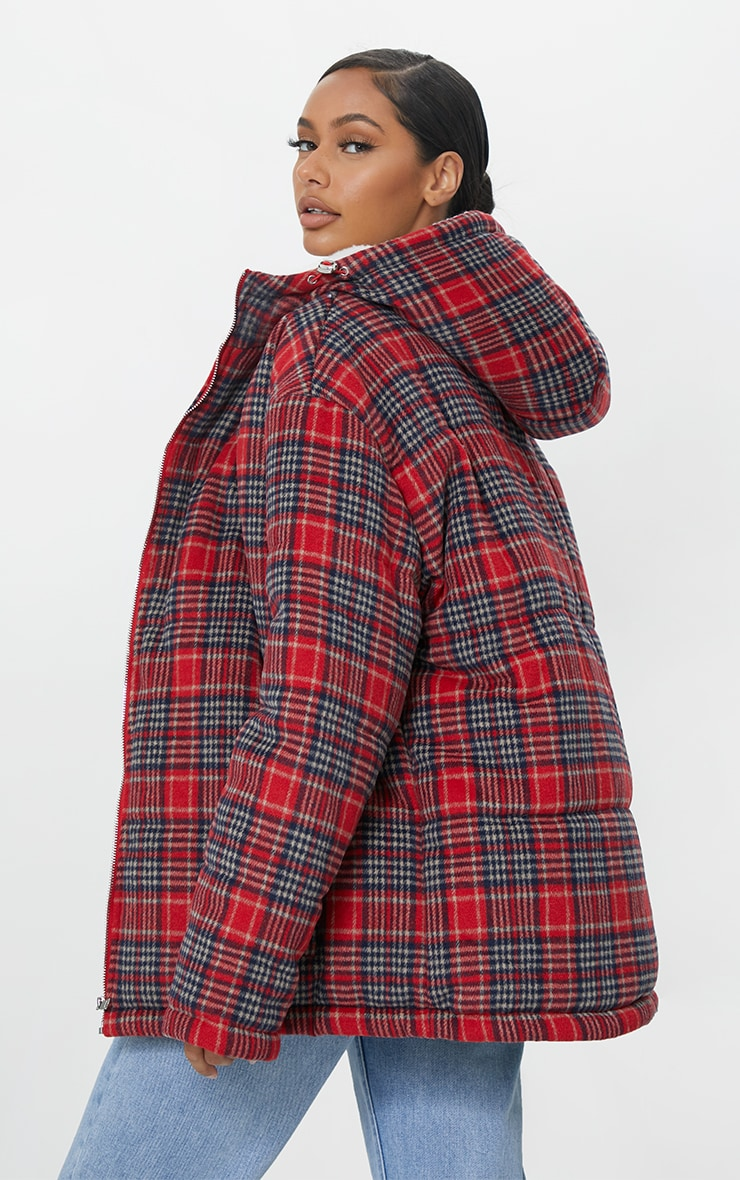 Red Brushed Checked Oversized Puffer Jacket 2