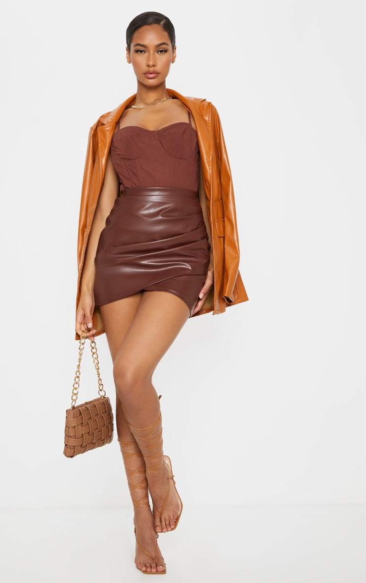 Chocolate Ruched Faux Leather Skirt 4