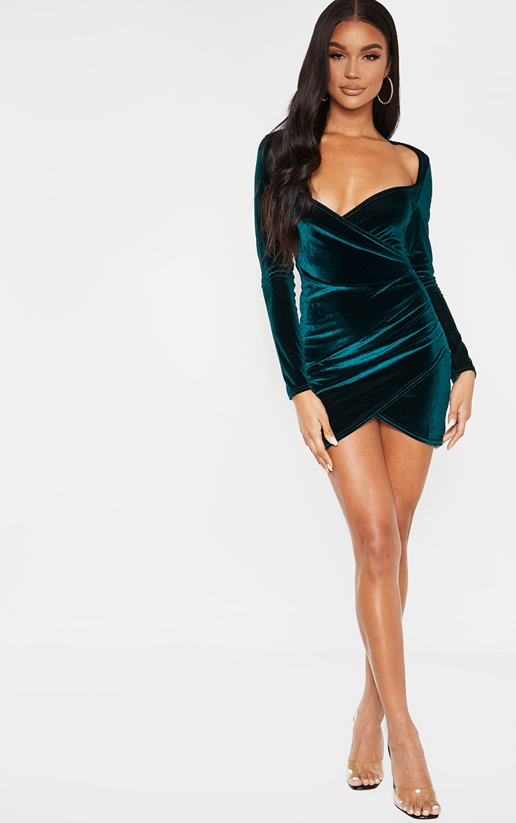 Emerald Green Velvet Long Sleeve Wrap Detail Bodycon Dress 4
