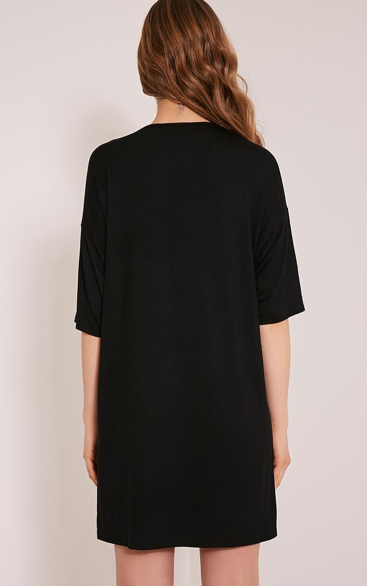 Basic robe t-shirt à épaules tombantes noire 2