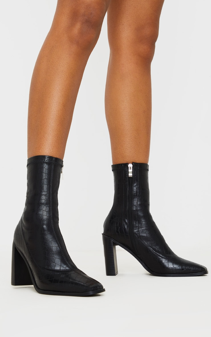 Black Flat Heel Square Toe Sock Boot 1