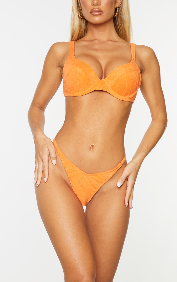 Orange Towel Mini Thong Bikini Bottoms 1