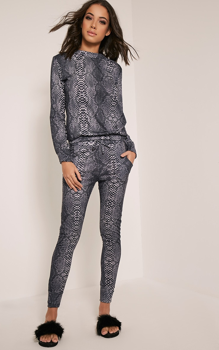 Tayah Grey Snake Print Fitted Joggers 1