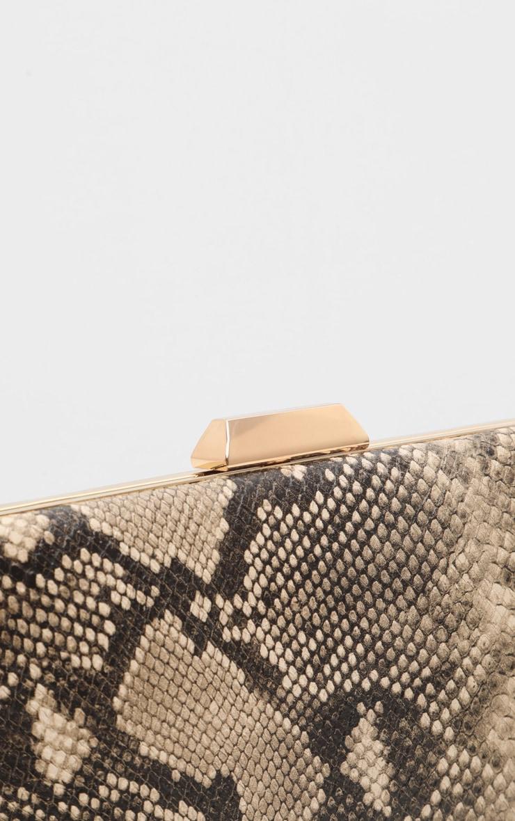 Brown Snake PU Box Clutch Bag 3