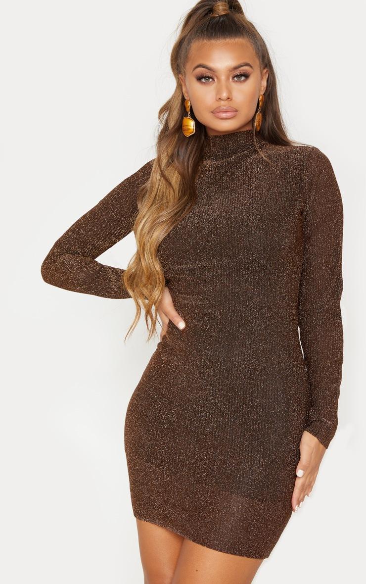 Bronze Textured Glitter High Neck Long Sleeve Bodycon Dress 2