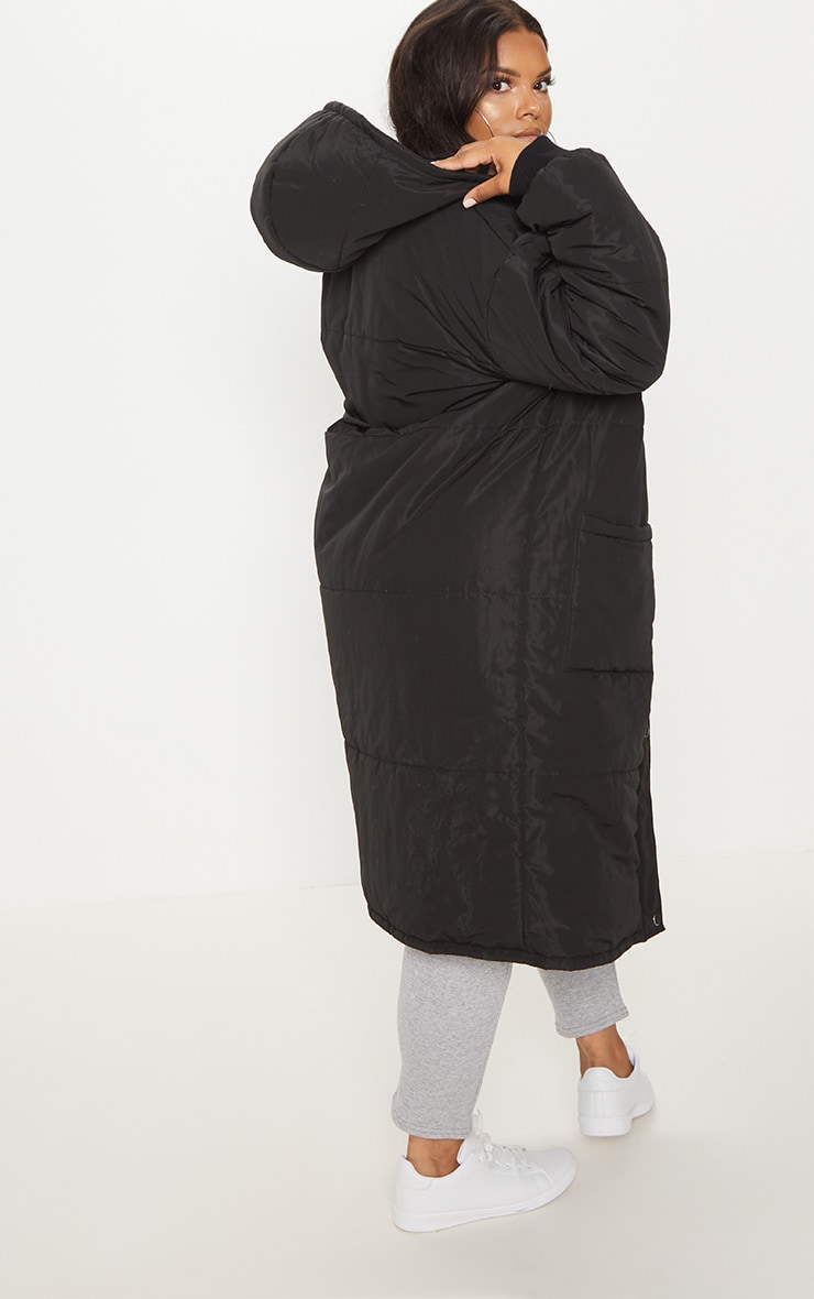 Plus Black Longline Puffer Coat 2