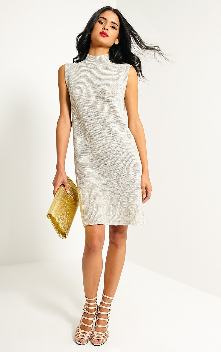 Zedanya Beige Metallic Knitted Dress 3