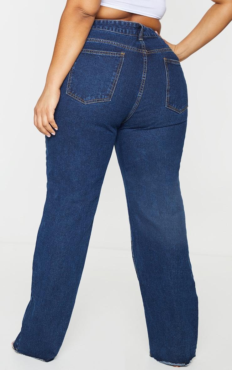 PRETTYLITTLETHING Plus Indigo Long Leg Straight Jeans 3