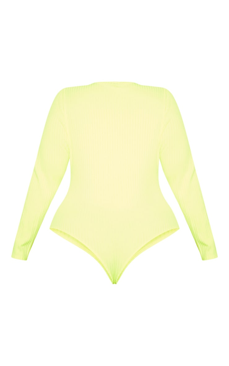 Plus Neon Yellow Rib Long Sleeve Bodysuit 4