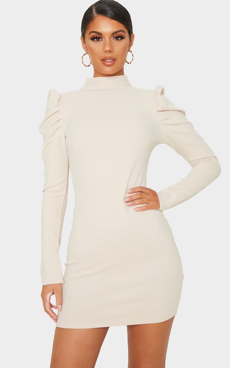 Stone High Neck Puff Shoulder Bodycon Dress 1