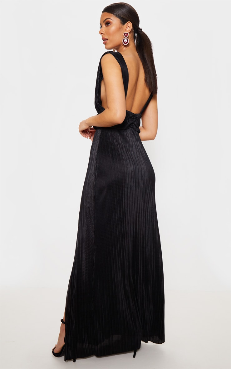 Black Plisse Plunge Ruched Detail Maxi Dress 2