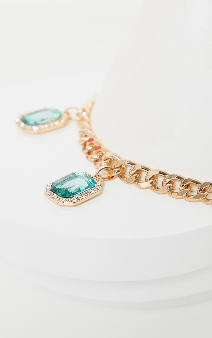 Gold Emerald Drop Chain Choker 4