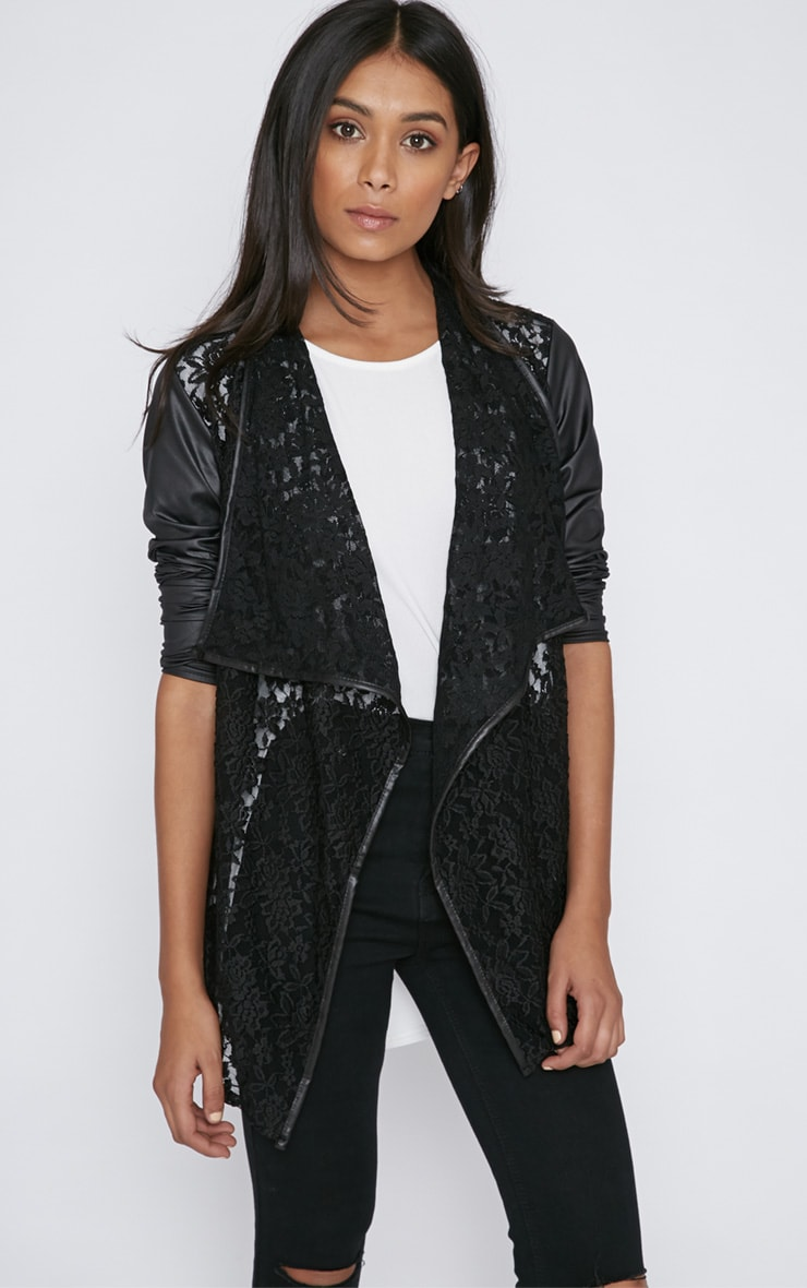 Stevie Black Lace Leather Sleeve Waterfall Jacket 1