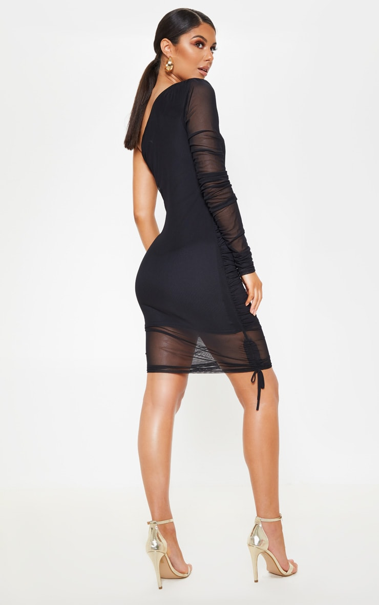 Black Mesh Ruched One Shoulder Bodycon Dress 2
