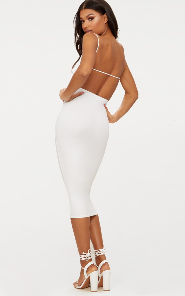 White Straight Neck Strappy Back Midaxi Dress 1