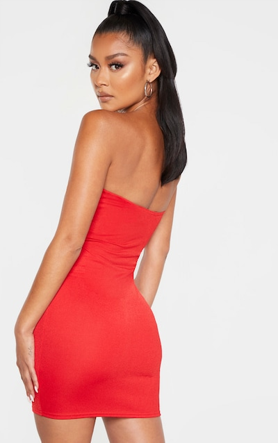 Red Bandeau Cut Out Centre Bodycon Dress