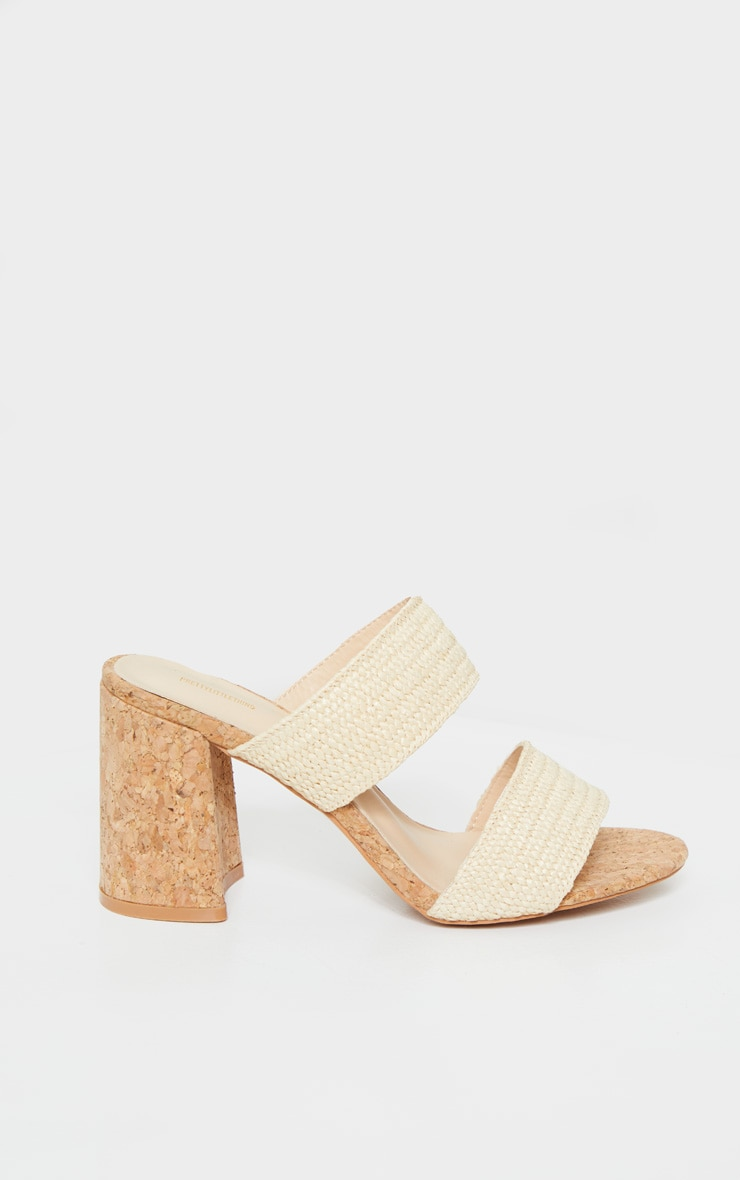 Natural Cork Twin Strap Block Heel Mule Sandal 4